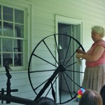 Leslie Shelor demonstrates spinning.
